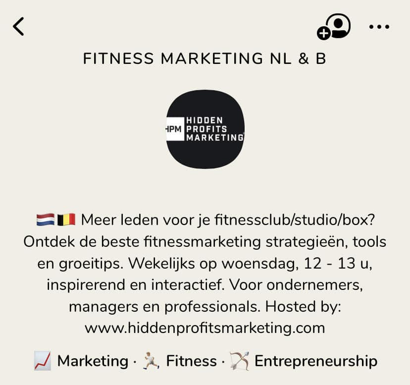 Clubhouse Room Fitness Marketing en Business NL