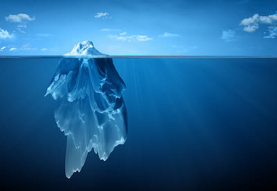 The online fitness marketing iceberg, only 10% is visible